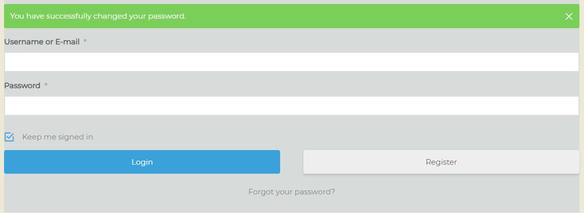 password sucessfully changed